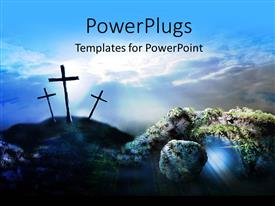 PowerPlugs: PowerPoint template with a number of holy crosses with clouds in the background