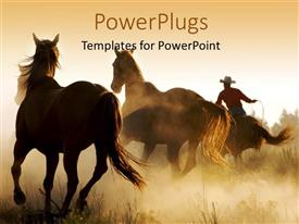 PowerPlugs: PowerPoint template with a number of horses in the wild