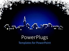 PowerPlugs: PowerPoint template with a number of houses with bluish background