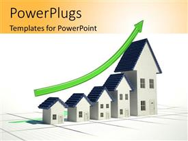 PowerPoint template displaying a number of houses with a growth graph