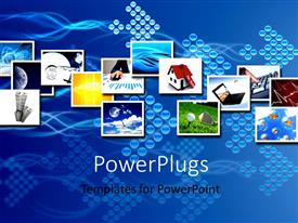 PowerPlugs: PowerPoint template with a number of houses and laptops with bluish background
