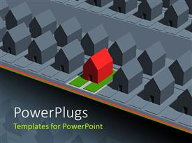 PowerPlugs: PowerPoint template with a number of houses with one different of them all