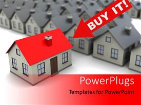 PowerPoint template displaying a number of houses with one in the front