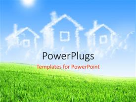 PowerPlugs: PowerPoint template with a number of houses with sky in background