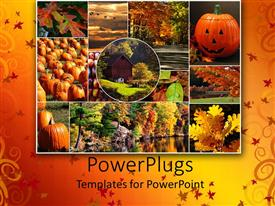 PowerPoint template displaying a number of houses, trees and pumpkins