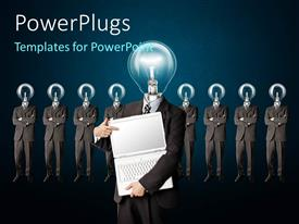 PowerPlugs: PowerPoint template with a number of ideas with one holding a laptop and bluish background