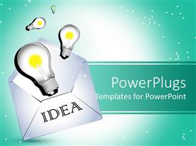 PowerPoint template displaying a number of ideas popping up fro an envelope