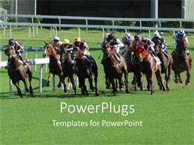PowerPoint template displaying a number of jockeys riding in a race
