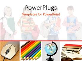 PowerPlugs: PowerPoint template with a number of kids in the background with a mouse and globe in front