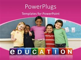 PowerPlugs: PowerPoint template with a number of kids with bluish background and place for text