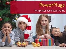 PowerPoint template displaying a number of kids celebrating Christmas