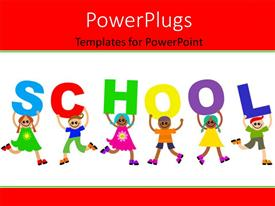 PowerPlugs: PowerPoint template with a number of kids delivering the message of school
