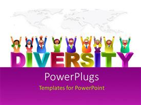 PowerPlugs: PowerPoint template with a number of kids enjoying the diversity with map in the background