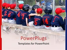 PowerPoint template displaying a number of kids forming a baseball team