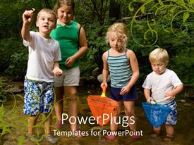 PowerPlugs: PowerPoint template with a number of kids with greenery in the background