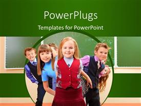 PowerPoint template displaying a number of kids with greenish background and place for text