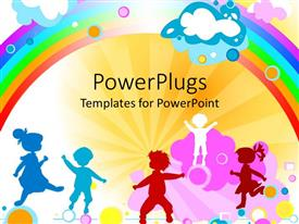 PowerPlugs: PowerPoint template with a number of kids with rainbow in the background