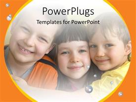 PowerPlugs: PowerPoint template with a number of kids together with bubbles in the background