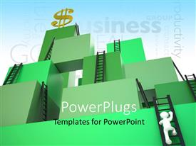 PowerPoint template displaying a number of ladders to reach the top
