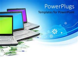 PowerPlugs: PowerPoint template with a number of laptops with bluish background