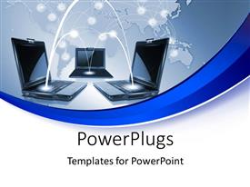 PowerPlugs: PowerPoint template with a number of laptops connected to each other with globe in the background