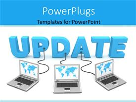 PowerPlugs: PowerPoint template with a number of laptops connected to the word update