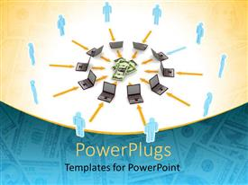 PowerPlugs: PowerPoint template with a number of laptops with dollars in between them