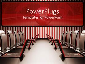PowerPlugs: PowerPoint template with a number of laptops in an office