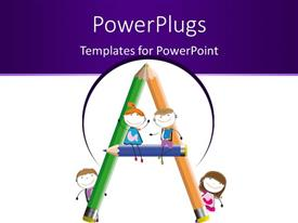 PowerPlugs: PowerPoint template with a number of lead pencils making the alphabet A
