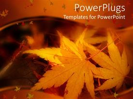 PowerPlugs: PowerPoint template with a number of leaves in the fall