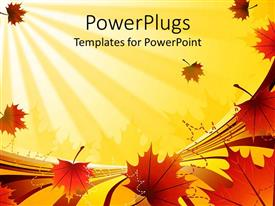 PowerPlugs: PowerPoint template with a number of leaves in front with yellowish background