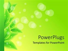 PowerPlugs: PowerPoint template with a number of leaves with greenish background