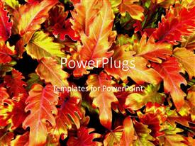 PowerPlugs: PowerPoint template with a number of leaves together in the background with place for text in front