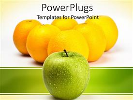 PowerPlugs: PowerPoint template with a number of lemons and an apple in front