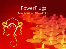 PowerPlugs: PowerPoint template with a number of lights with reddish background and Hinduism sign