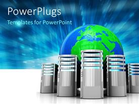 PowerPlugs: PowerPoint template with a number of machines with a globe in the background