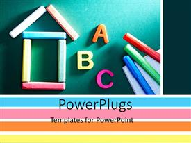 PowerPlugs: PowerPoint template with a number of marker colors with alphabets and green board