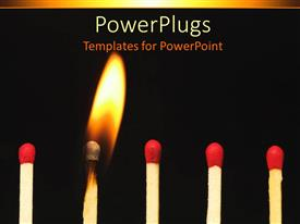 PowerPoint template displaying a number of match sticks with one of them being burnt