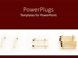 PowerPoint template displaying a number of matchsticks in piles with brownish background