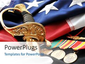 PowerPoint template displaying a number of medals and a sword with American flag