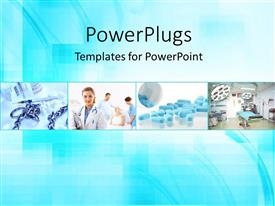 PowerPlugs: PowerPoint template with a number of medical related people with bluish background