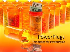 PowerPoint template displaying a number of medicines along with coins and currency notes