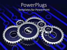 PowerPlugs: PowerPoint template with a number of metallic gears attached to each other