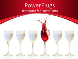 PowerPlugs: PowerPoint template with a number of milk glasses with a one of wine