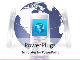 PowerPlugs: PowerPoint template with a number of mobile phones connected together encircling the world