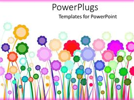 PowerPlugs: PowerPoint template with a number of multi-colored flowers with white background