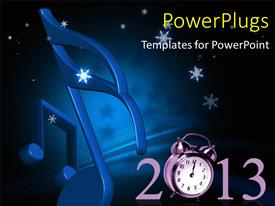 PowerPlugs: PowerPoint template with a number of music signs with the bluish background