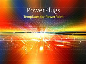 PowerPlugs: PowerPoint template with a number of music signs with multicolored background and place for text