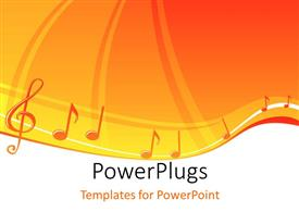 PowerPoint template displaying a number of musical signs with orange background