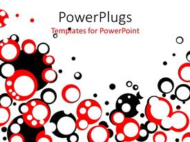 PowerPoint template displaying a number o circles of black and red colors with a white background
